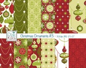 Christmas Ornaments Digital Papers - Red and Green Christmas Seamless Pattern - website background, textile print - Instant Dow