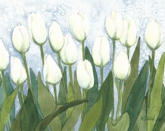 White Tulip Row 8 x 15 Original Watercolor by Wanda Zuchowski-Schick
