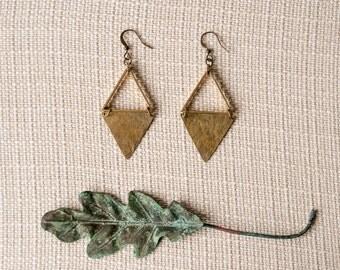 SALE - IRIT Triangle Brass Earrings