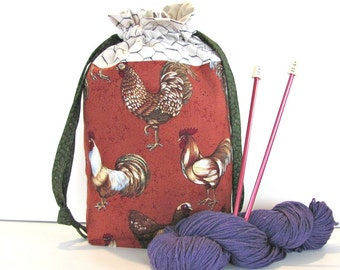 Drawstring Project Bag for Knitting or Crocheting - Chickens Knitting Tote Bag, Knitters Gift