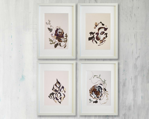 Set Of 4 Artworks Wall Art Dining Room Dried