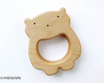 Organic Wooden Teether - Teething Toy - Natural Wooden Toy - Safe Infant Toy  - Teddy Bear
