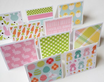 Set of 10 // 3x3 Mini Easter Note Cards  // Mini Easter Cards // Mini Note Cards // Mini Cards // Easter Stationery // Easter Greeting Cards