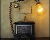 Retro Telephone lamp / Steampunk lamp / alarm clock  phone lamp / custom lamp