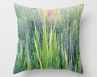 Leaves of Grass, photography pillow, natural, organic, sunlight, green, yellow, grass, blades, spring, meadow, soft, bright, sunlit, Greece