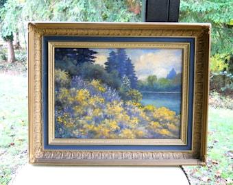 John Gamble 19th Century Impressionist Landscape California Plein Air Oil Canvas Painting Antique Yellow Bush Lupine Wildflowers Trees Lake