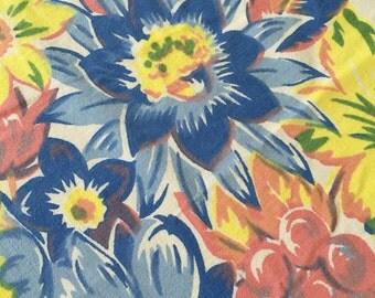 SALE Floral Tablecloth Pastel Blue Yellow Pink 52 X 46 Vintage