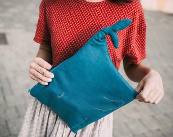 Blue whale. Canvas tablet case.