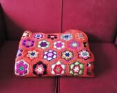 Crochet Blanket, Afgan Blanket, Crochet Blanket in Orange, Multicolour Crochet Blanket, Granny Square  Blanket