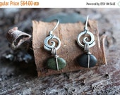 VALENTINES DAY SALE Spiral and river stone hook earrings