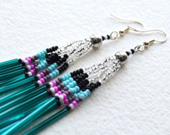 Authentic Native American Beaded Earrings - Duster Earrings - Teal Clear - Free Shipping