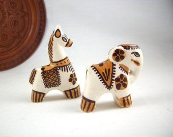 Vintage Pottery Salt and Pepper India Llama and Elephant Figurines