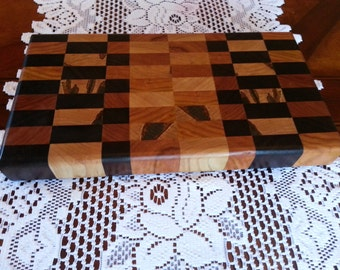 Butcher Block / Cheese Board, Mixed Hardwoods End Grain