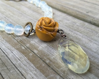 Beaded Mustard Rose Necklace
