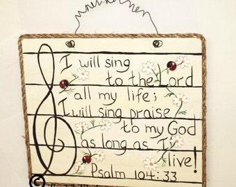 Music Sign Bible Verse Scripture Sign Painted Psalm Song Sheet Music Art Handpainted Sign Gift For Singer Teacher Choir Chorus Ensemble