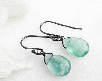SALE fluorite earrings, fluorite, fluorite briolettes, oxidized silver, dangle earrings, drop earrings, minimal