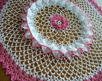 Handmade White and Pink Round Crochet Doily: Hyacinth Bean