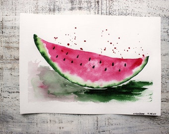 Watermelon original watercolor painting 8x12' kitchen decor nursery decor pink green