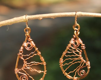 Unique Copper Wire Wrapped Earrings
