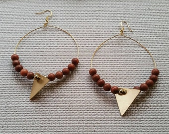 Matte Red Jasper and Brass Triangle Hoop Earrings