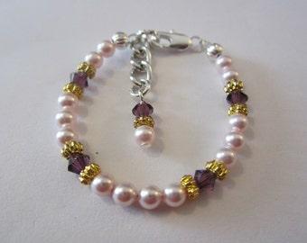Newborn baby swarovski crystal and pearl birthstone bracelet