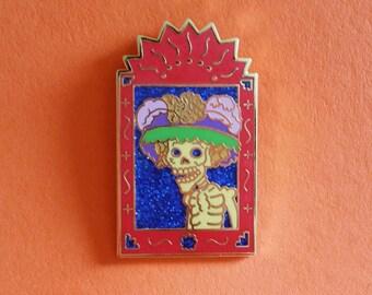 Dia de Los Muertos La Catrina Posada Nicho Enamel Lapel Pin