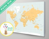 World Map with Pins CANVAS Choose Color - Countries, Capitals, USA and CANADA states  - Push Pin Travel Map, Pin It Map, 240 Pins