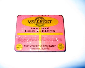 Vintage Velcrest Laxative Cold Tablets Tin - 1930's Velcrest Laxative Cold Tablets Tin - Mansfield, Ohio The Velcrest Company Cold Tablets