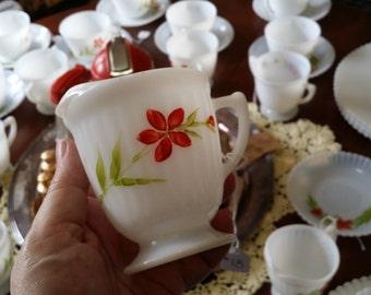 Vintage MacBeth-Evans Monax Milk Glass Creamer with Hand Painted Flowers - Florette pattern