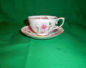 One (1), Hand Painted, Bone China, Footed Tea Cup & Saucer, from Rosina, in the Florette Pattern.