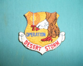 One (1), Vintage Military,  Iron On, Operation Desert Storm, Cloth Shoulder Patch