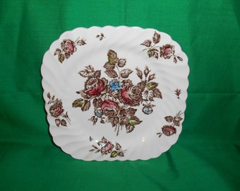 "7 5/8"" Square Salad Plate, from Johnson Bros., in the Devon Sprays, Brown-Multicolor Pattern."