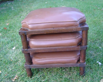 Three Stackable, Stacking, Nesting Brown Ottoman Stools, Vintage Mid Century Modern MCM