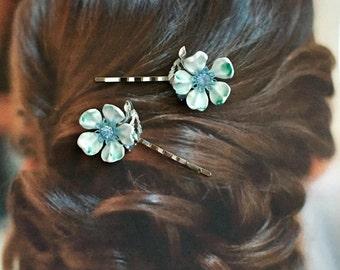 Decorative Hair Pins 1940's vintage Bridal Dogwood Flower Celluloid Hair Bobby Pins