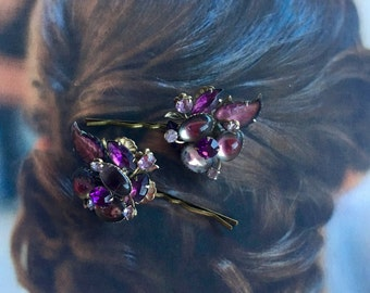 Bridal Hair Pins Jewelry 1940's Decorative Art Glass Purple Amethyst Lavender Leaves Hairpins Bobby Pins