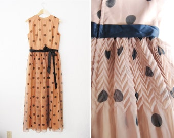 Vintage 1960s STUNNING Brown & Black Polka Dot Maxi Long Dress / Gown / Crimped