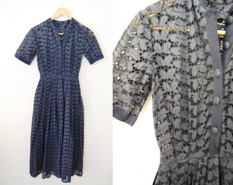Vintage 1940s Navy Blue Lace Fitted Full Circle Skirt Dress Buttons Up the Front Womens XS