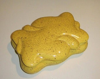 Vintage Speckled Yellow Ceramic Box