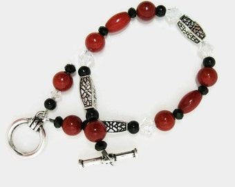 Red Coral Bracelet coral jewelry red bracelet Independence Day fashion bracelet gift for her Birthday red and black coral bracelet