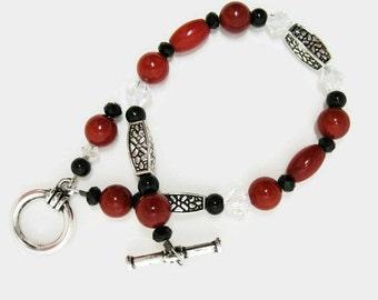 Red Coral Bracelet beaded art deco shell beadwork swarovski clear crystal black glass toggle