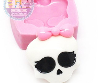 Girly Skull Head with Bow Cabochon 26mm Silicone Flexible Mold Bakery Chocolate Fundont Candy FIMO Cupcake Deco 630m* Food Safe BEST QUALITY