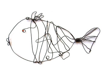 Black wire fish, Wire Fish, Wire Animal, Fish Home Decor, Black Fish, Fish mobile, Wall art fish, WIre sculpture, Fish sculpture
