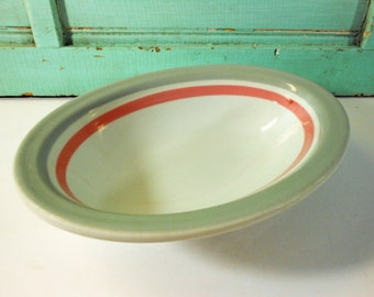 Vintage Shenango Oval Serving Bowl with Pink and Gray Stripes