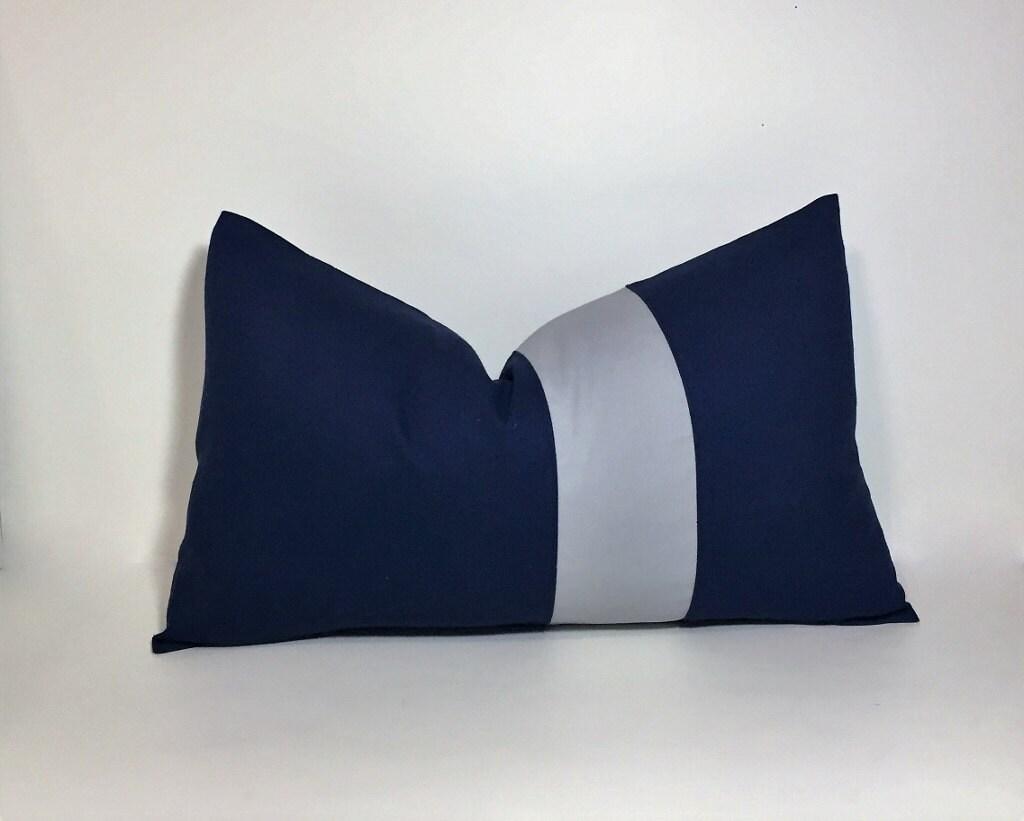 Navy Amp Grey Colorblock Pillow Cover Lumbar Pillow Cover