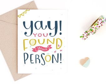 engagement card - wedding card - you found your person - recycled paper