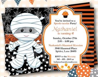 Mummy Birthday Invitation, Halloween Birthday Invitation, Halloween Birthday Invite, Mummy Invitations, Mummy Invites, Costume Party -  H42