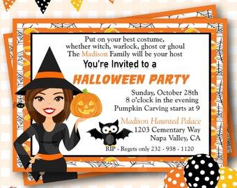 Halloween Birthday Invitations, Cute Witch Birthday, Halloween Birthday Invites, Witch Birthday Invitations, Halloween Invite - H55