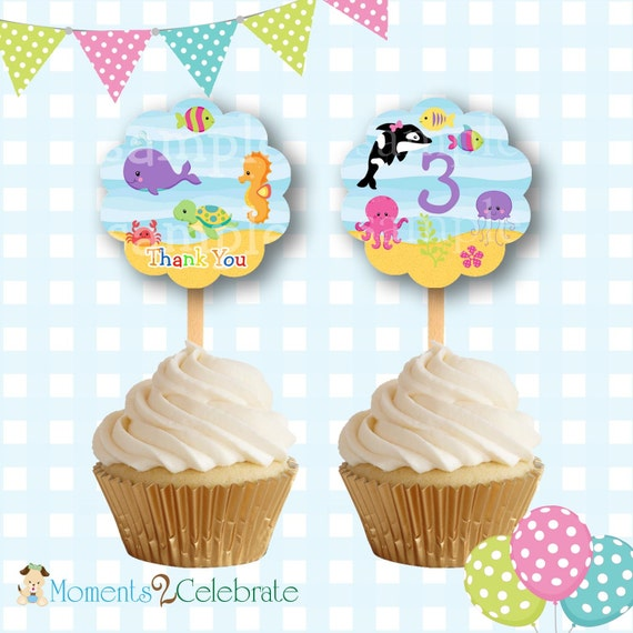Under the Sea Cupcake Toppers, Underwater Birthday Party Cupcake Decorations, Sea Cupcake Topper, Birthday Party Favors, Dolphin - #U04