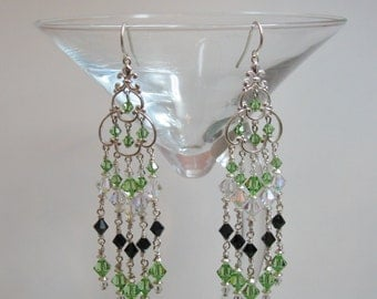 Green and Black Swarovski Crystal and Sterling Silver Chandelier Earrings