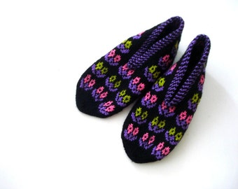 womens slippers, Turkish Socks Slippers, ladies booties, knitted home shoes, womans slippers, house shoes purple pink black knitted slippers